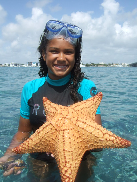Brianna with a cushion starfish