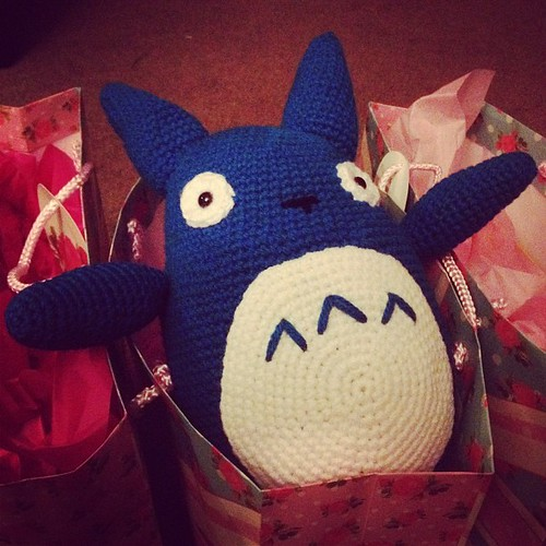 I'll get a better pic in the morning before he goes to his new home, but for now here is Totoro #crochet #amigurumi