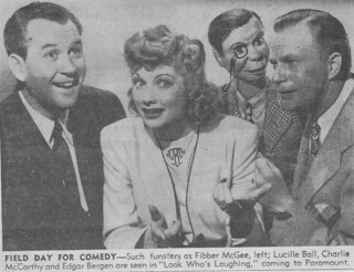 Old newspaper ad for Paramount Studios and Fibber McGee, Lucille Ball, Charlie McCarthy and Edgar Bergen 1942