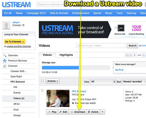Download a Ustream video