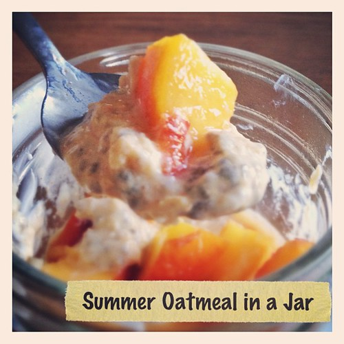 Yogurt steeped oatmeal & chia pudding with cardamom & a honey lime peach. Summer in a jar!