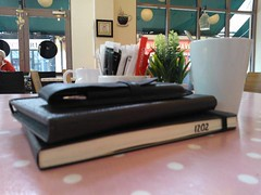 Moleskine, Kindle and coffee