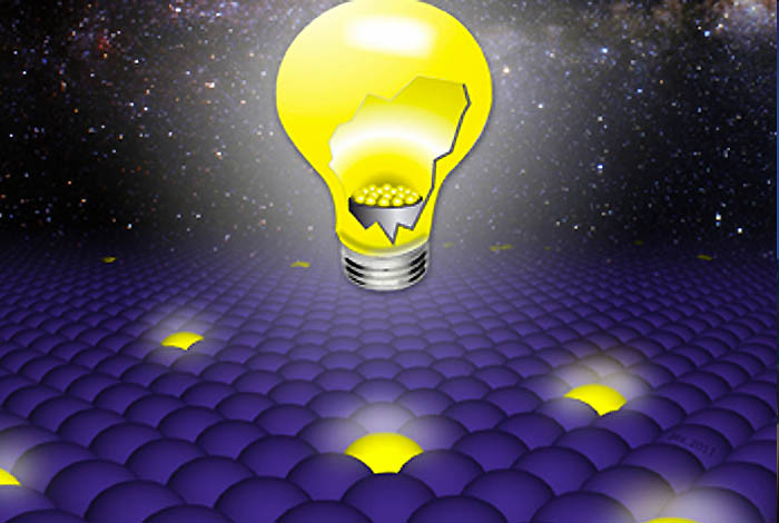 Artists conception of how solving the problem of quantum blinking may lead to applications in areas such as solid state lighting.