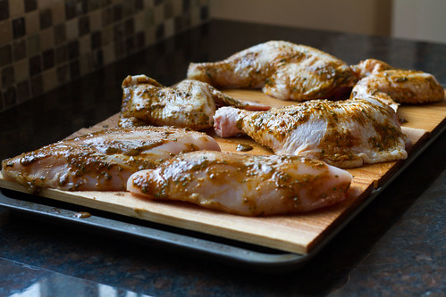 Prepped Chicken on Planks