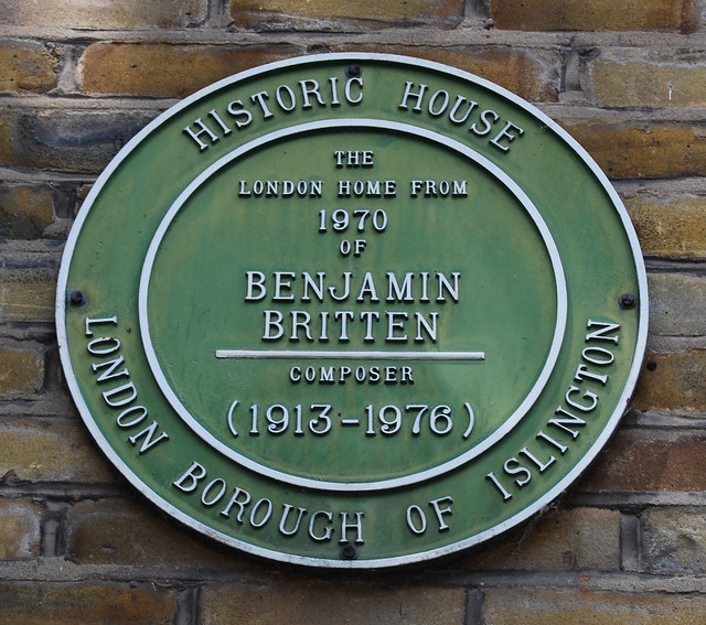 Photo of Benjamin Britten green plaque