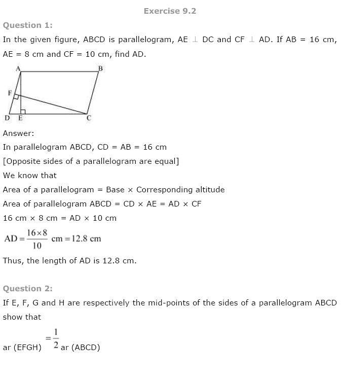 NCERT Solution for class 9th: Chapter 9-Area ofParallelograms ...