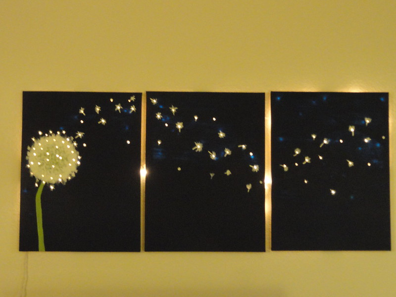 Three-panel, dandelion wall art that lights up! Offbeat Home & Life