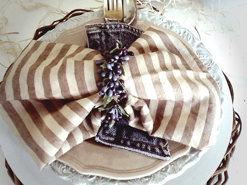Rustic tablescape using denim and gold