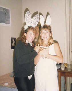 Two Claremont sisters getting ready for Harwood Halloween in 1989 with their pet bunny: Francesca Fitchett PI '92 and Mercedes Fitchett '91. Photo submitted by Mercedes Fitchett.