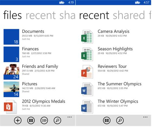 SkyDrive 3.0 Windows Phone App