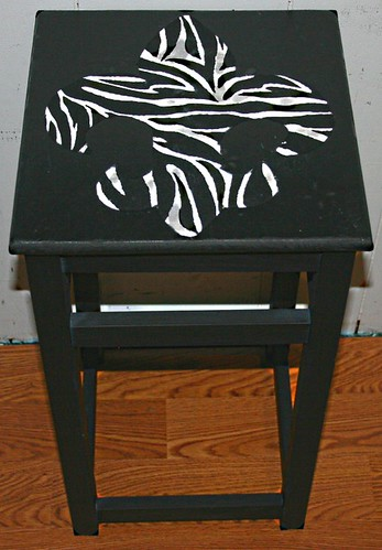 Flur De Lis Zebra Design Accent Table by Rick Cheadle Art and Designs