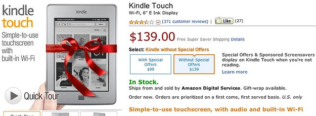 Kindle Touch: Touchscreen e-Reader with Wi-Fi, 6