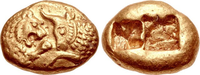 G844 An Excessively Rare, Exceptional, and Highly Important Greek Gold Stater Struck on the Heavy Standard of Kroisos, King of Lydia, the World's First Gold Coin, Among the Finest Known