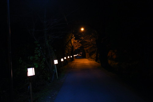 night street with guide lantern