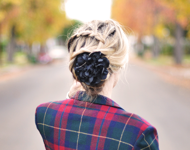 french braid-zig zag braid-braids-flower in hair