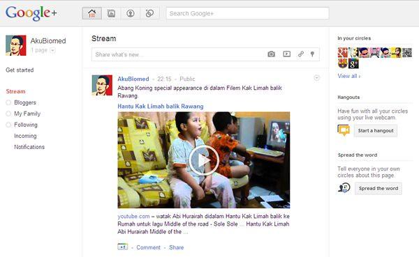 Menu Google+ Page