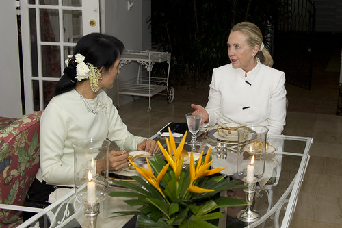 Secretary of State Hillary Clinton meets Daw Aung San Suu Kyi for dinner in Rangoon during her historic visit to Burma. [State Department photo by William Ng]