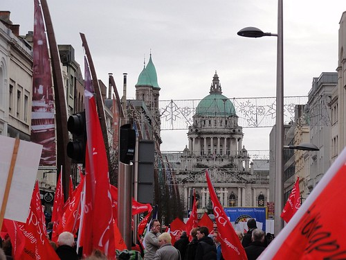 Trade Union members at Belfast rally