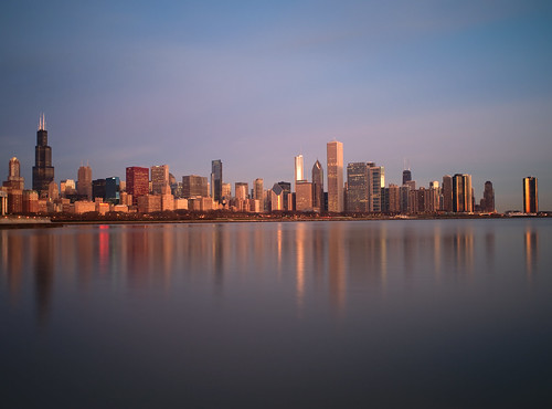 city lake chicago tower water 30 skyline sunrise buildings illinois nikon long exposure downtown cityscape michigan sears 28mm smooth nikkor f28 willis seconds d700