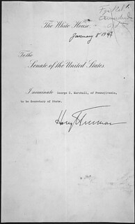 Message of President Harry Truman nominating George C. Marshall to be Secretary of State, 01/08/1947