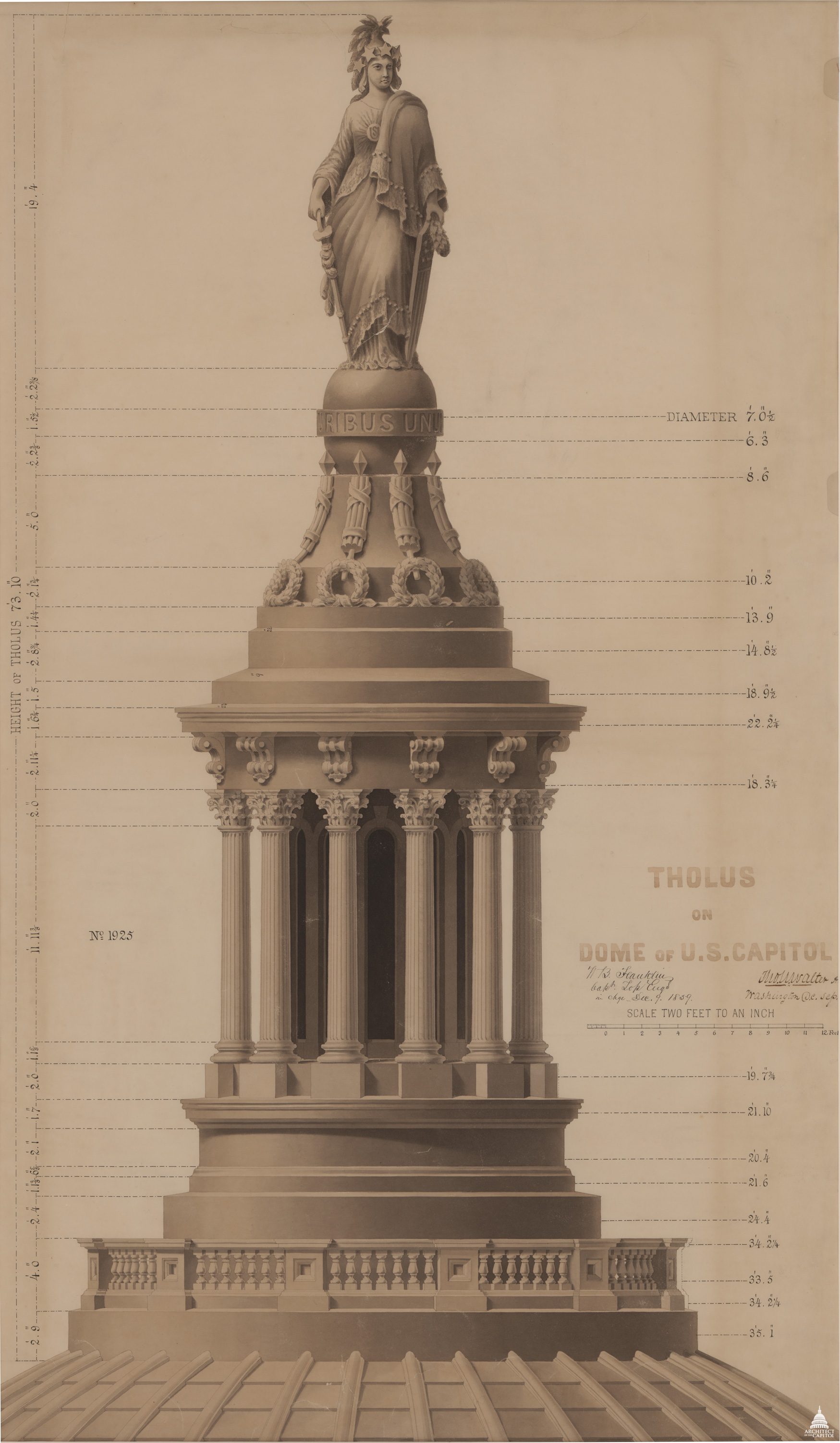 A detailed diagram of the Statue of Freedom