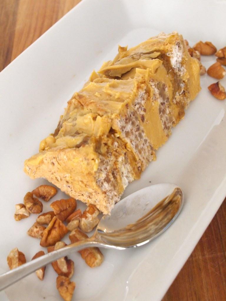 Pecan, caramel and pumpkin Sans Rival cake