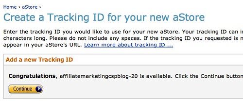Amazon.com Associates Central - aStore: Create a Tracking ID for your new aStore