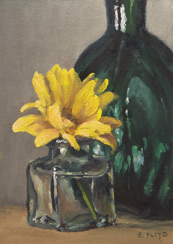 Still Life with Yellow Mum & Green Bottle