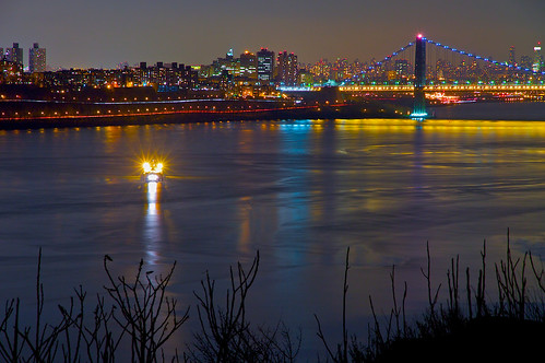 Barge Lights by the George Washington Bridge