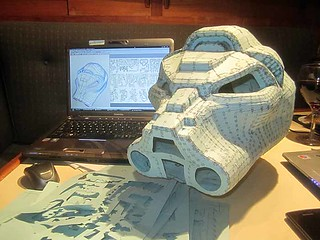 SM Tactical Dreadnought Helmet Papercraft Nightmare Finished