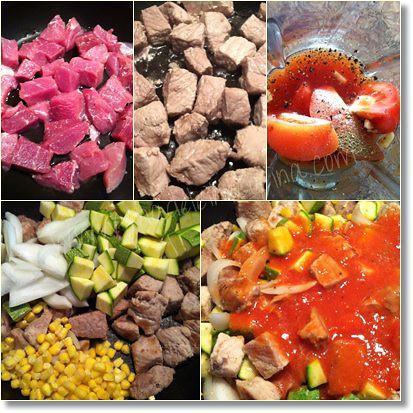 Preparando la carne de puerco con calabacitas