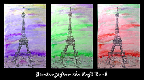 paris collage watercolor triptych postcard eiffeltower balance greeting penink odc1 scavchal