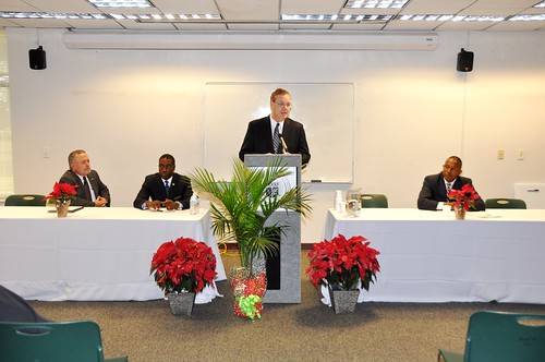 Billy Barker, Office of Congressman Mike McIntyre, Dr. Lawrence Rouse, President of James Sprunt Community College, Randall Gore, State Director