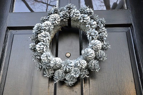 silver pine cone wreath
