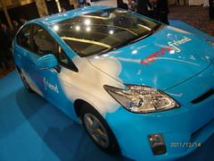 sports car(0.0), race car(1.0), automobile(1.0), toyota(1.0), vehicle(1.0), automotive design(1.0), auto show(1.0), toyota prius(1.0), land vehicle(1.0),