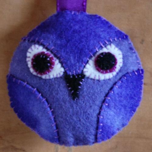 owl pendant violet
