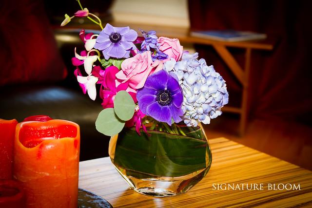 Los Gatos Wedding Ideas Purple and Blue Arrangement