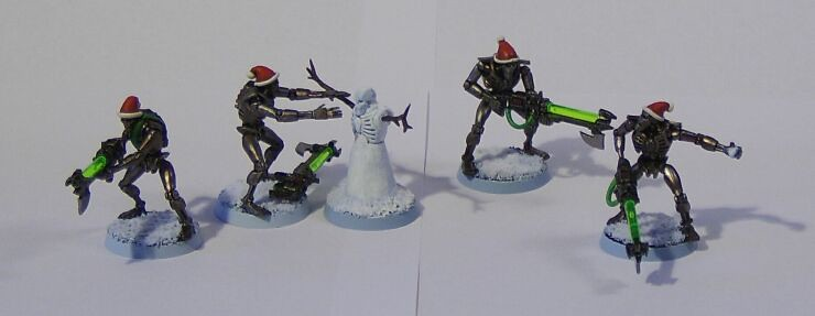 All Of The Christmas Themed Necrons I Have Made So Far