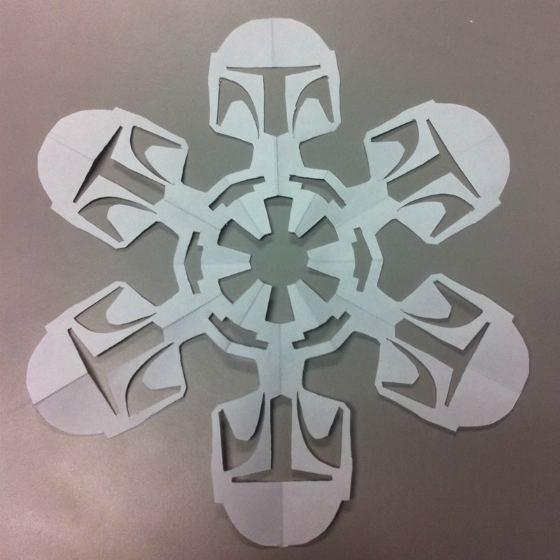 copos de nieve hechos de papel