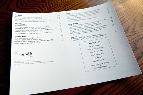 Weekend lunch menu
