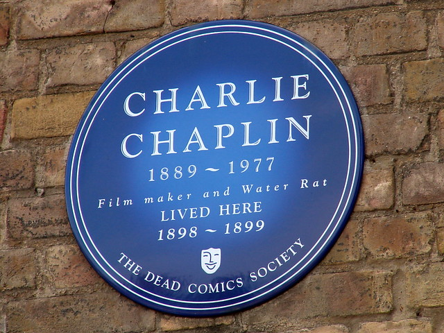 Charlie Chaplin blue plaque - Charlie Chaplin 1889-1997 film maker and Water Rat lived here 1898-1899