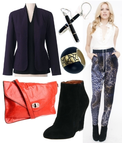 Printed Sil Pants with textured jacket