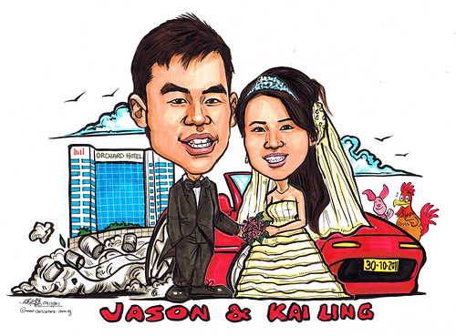 Wedding couple caricatures @ Orchard Hotel