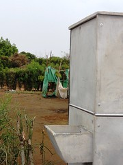 New prefabricated toilet with a washing basin