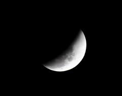 moon, lunar eclipse, celestial event, eclipse, black-and-white, crescent,