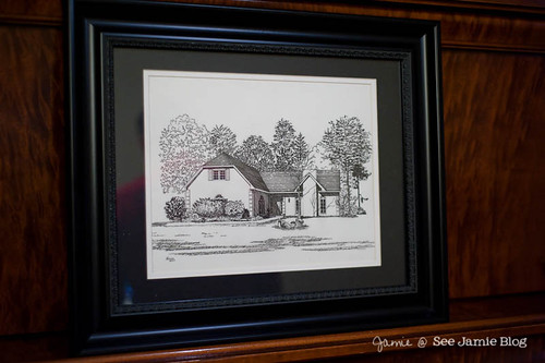 pen and ink drawing of home