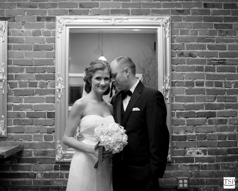 Bride and Groom in Mirror Frame