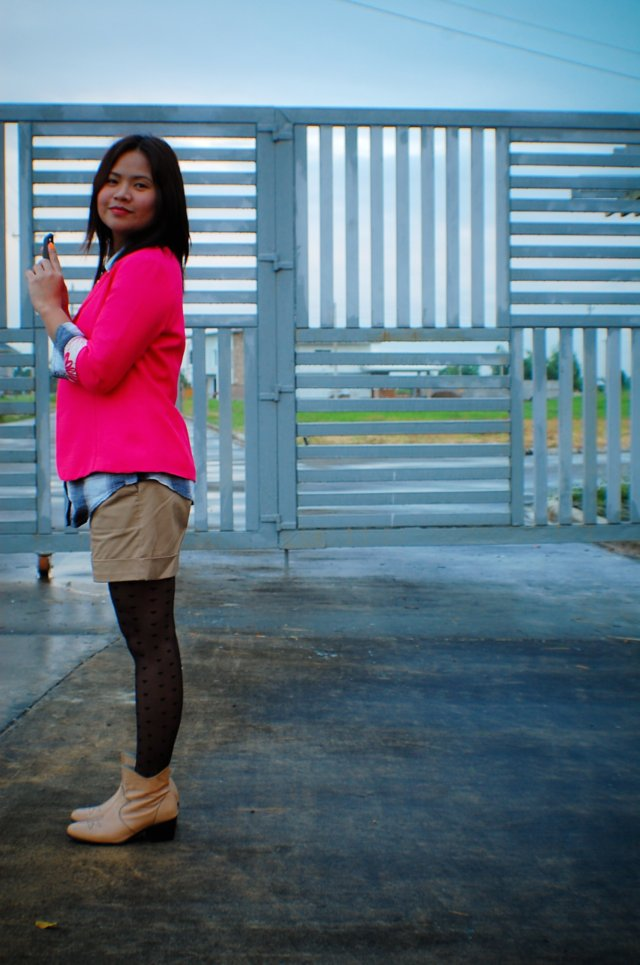 thrift pink blazer, checkered top, SM dept store shorts, hearts tights, denise katipunera, mommy style, pinay fashion blogger, fashion on a budget