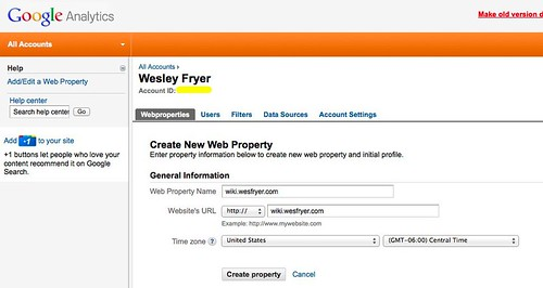 Google Analytics - Create a new property