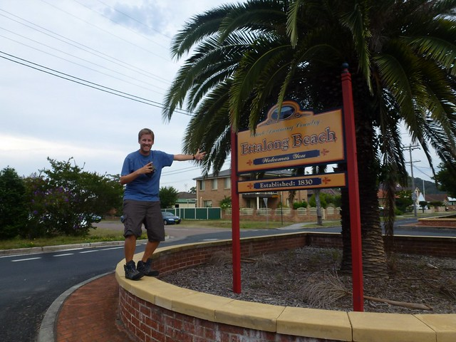 Before leaving Ettalong Beach John got a picture with the sign
